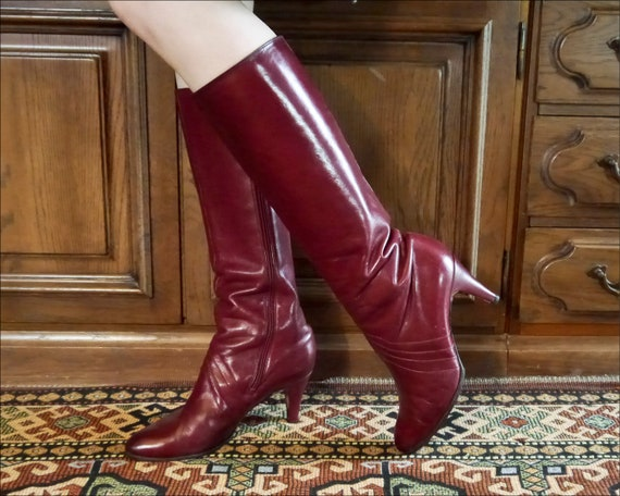 Vintage 70s 80s sexy burgundy high leather boots … - image 1