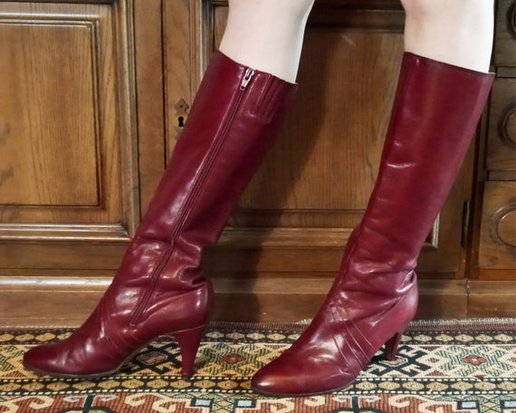Vintage 70s 80s sexy burgundy high leather boots … - image 2