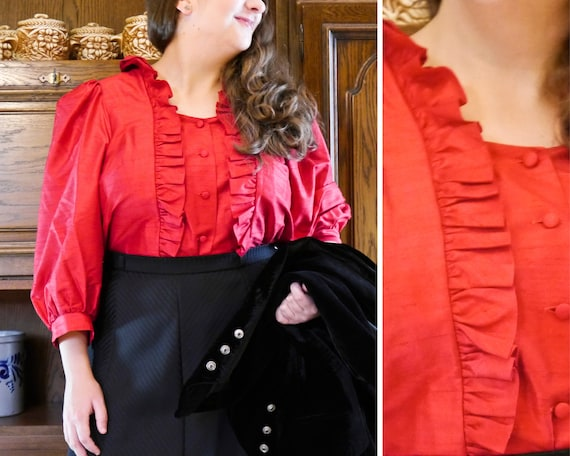 SEIDE 90s Vintage Red Silk Blouse with Ruffles XL