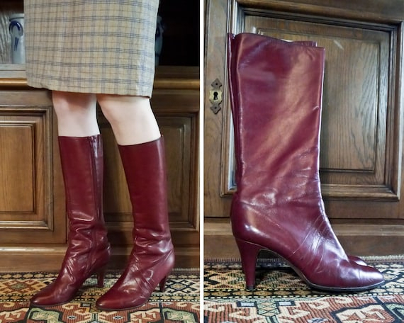 Vintage 70s 80s sexy burgundy high leather boots … - image 5