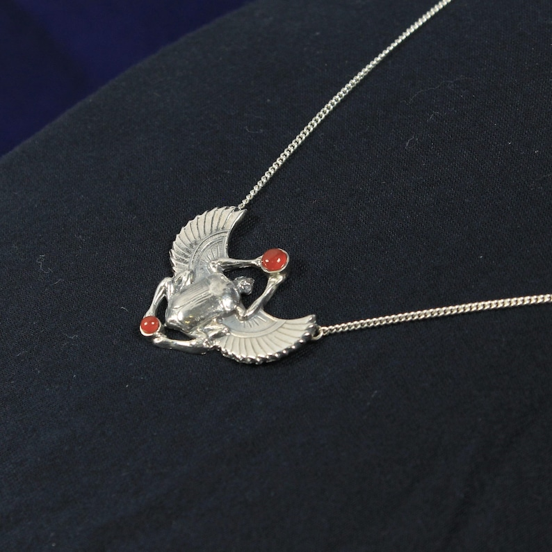 Petite Silver Scarab Pendant and Chain with Carnelian Accents