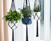 3-Pack Black Premium Macrame Plant Hangers Large, Variety Sizes (35 quot 41 quot 47 quot )