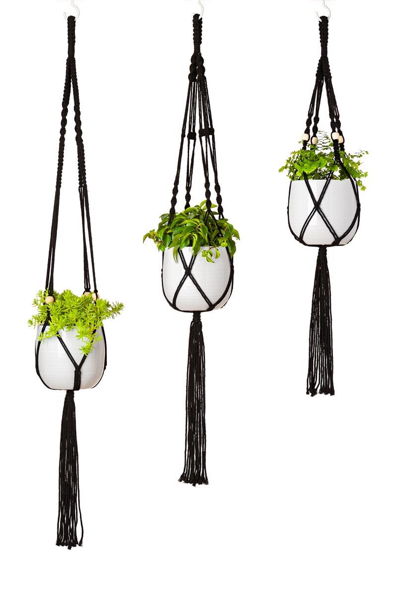 35 41 47 3-Pack Black Premium Macrame Plant Hangers Large Variety Sizes