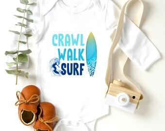 Crawl walk surf baby onesie surfboard beach baby outfit surfing bodysuit unisex baby clothing newborn- 24 months baby shower gift
