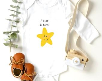 A Star Is Born Baby Gerber Organic Handmade Onesie