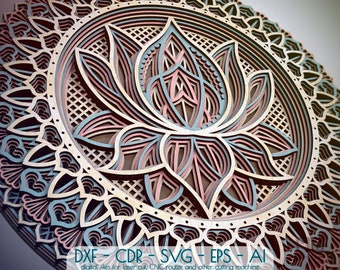 M12 - Lotus Flower Mandala DXF file, Mandala DXF File For Laser, Laser Cut Dxf Mandala Pattern Flower Mandala Svg file Lotus Laser Cut Dxf,