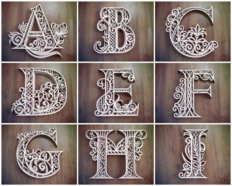 A-Z Alphabet Letters Layered Letters SVG Laser Cut | Etsy