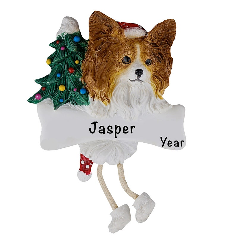 Christmas Tree Decorations Personalized Pet Ornament PAPILLON CHRISTMAS ORNAMENT Dog Tree Ornament Dog Name Ornament