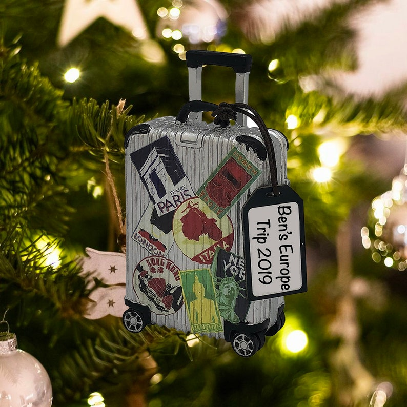 Personalized Travel Suitcase Ornament