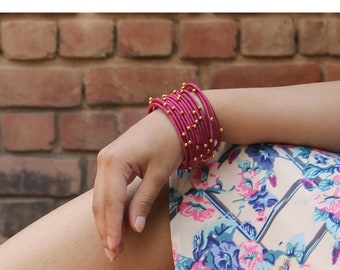 Magenta/Pink Bangles, Silk Bangles, Bracelet - Set of 12, Fashion Jewelry, For Kids and Adults, Boho, Gold Bead, Personalised Gift, Handmade