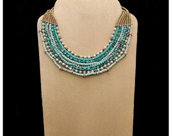 Blue Bib Necklace, Bead Necklace, Fashion Bead Jewelry, Modern Jewelry, Statement Jewelry, Bead Necklace, Perfect Gift, Handmade Jewelry
