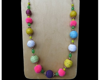 Pom Pom Bead Jewelry, Bead Necklace,  Long Necklace, Fashion Jewelry, Handmade, Multicolored Bead Jewelry, Perfect Gift, Boho Necklace
