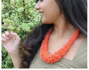 Orange/Purple Glass Bead Jewelry, Bead Braided Necklace, Bohemian Jewelry, Statement Necklace, Vintage Jewelry, Bib Necklace, Handmade, Gift