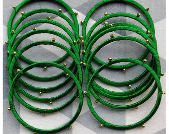 Shamrock Green Bangles, Silk Bangles, Bracelets - Set of 12, Fashion Jewelry, For Kids and Adults, Boho, Gold Bead, Christmas Gift, Handmade