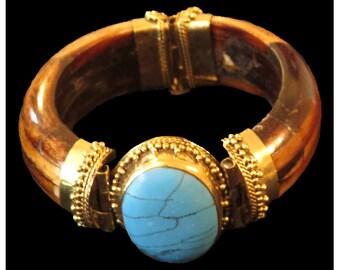 Cuff Bracelet, Blue Stone in Bracelet, Statement Jewelry, Wood Bracelet, Bohemian Vintage, Modern Jewelry, Minimalist, Gifts