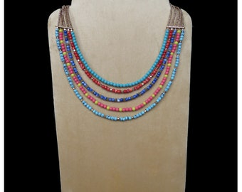Multicolored Bead Necklace, Bead Necklace,  Boho Necklace, Fashion Jewelry, Handmade, Bib Necklace, Multistrand Necklace, Perfect Gift