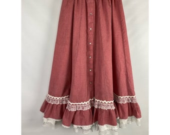 Rockmont Ranchwear cowgirl skirt full circle country western rockabilly swing skirt eyelet lace pearl button detail NWT
