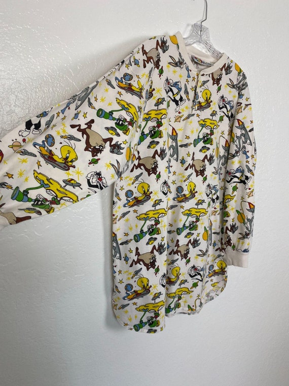 Rare Vintage 90s Space Looney Tunes Henley shirt … - image 5