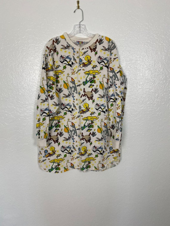 Rare Vintage 90s Space Looney Tunes Henley shirt … - image 3