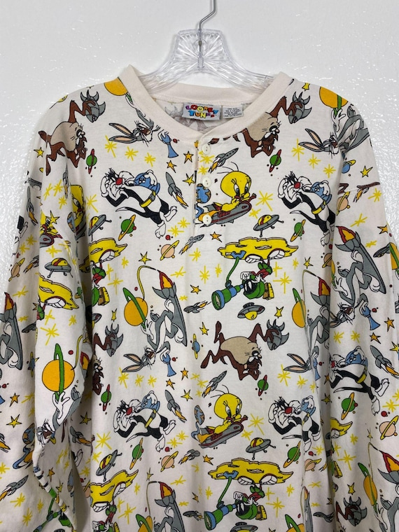 Rare Vintage 90s Space Looney Tunes Henley shirt … - image 4