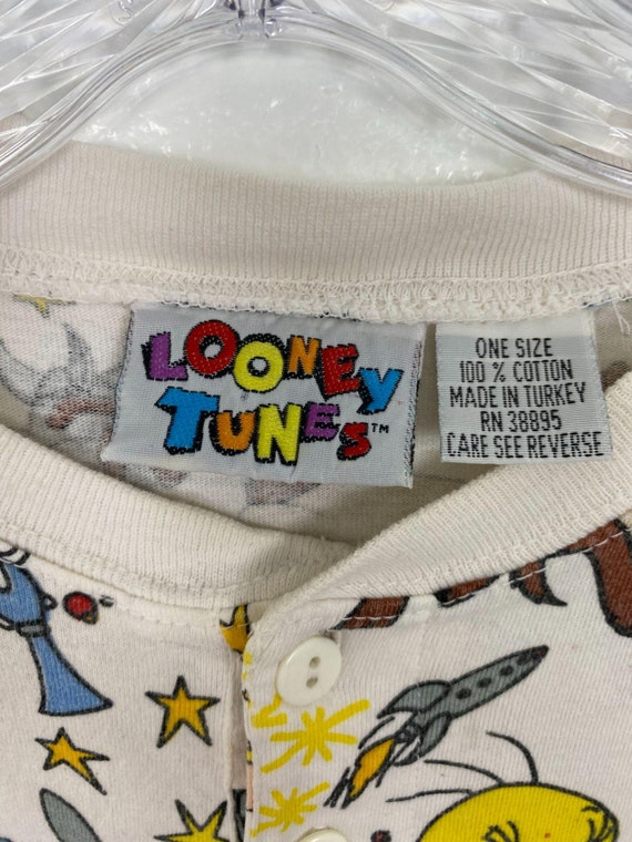 Rare Vintage 90s Space Looney Tunes Henley shirt … - image 6
