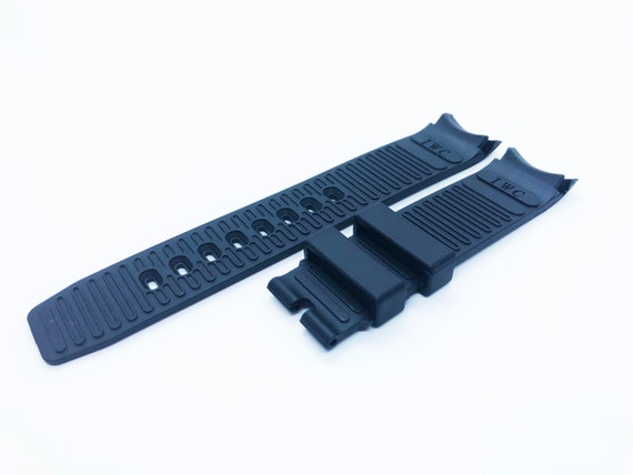 22mm Black Rubber//Silicone Strap//Band Buckle fit IWC AQUATIMER watches pins