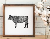 Cow SVG Cut Files for Cricut For Wall Art, Kitchen Towels, Farmhouse Decor, Beef Cuts Diagram TShirt, Handmade dxf, eps, png file