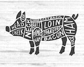 Pig SVG Cut Files for Cricut For Farmhouse Decor, Kitchen Towels, Beef Cuts Diagram Wall Art, TShirt, Handmade dxf, eps, png file