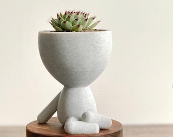 Little People Crossed Legs Planter - Cute Funny  Succulent Cactus Plant Pot - Decorative Planter - Zen People Pot - Person Arms Legs Pot