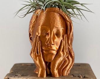 Face Planter - Woman Head Planter -  Head Pot - 3D Printed Planter - Planter With Drainage - Planter Box - Unique Planter - Brass Planter