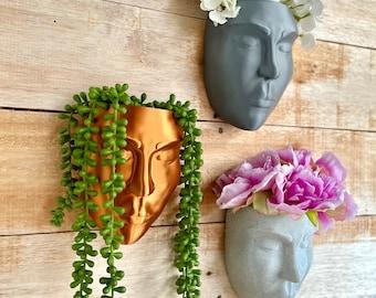 Wall Planter, Face Wall Planter, Face Planter, Wall Hang Planter, Wall Decor, Head Planter, Wall Art Face Plant Pot, Secret Storage