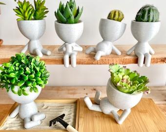 Little People Plant Pots in 6 Poses, Cute Planter wit Drainage, Succulent Planter, Boho Shelf Decor, Window Plant Shelf, Robert Planter Set