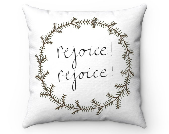 Featured listing image: Rejoice! Rejoice! Wreath - Pillow & Cover (White)