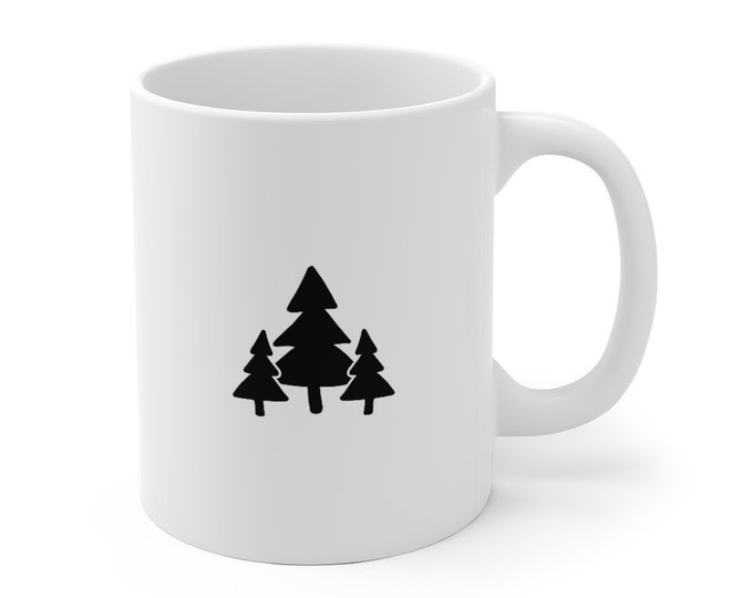 Featured listing image: Forest Coffee Mug - 11 oz Coffee Cup - Coffee Lover Gift - Ceramic Coffee Mug - Minimalist Mug - Adventure Mug - Tea Mug - Christmas Gift