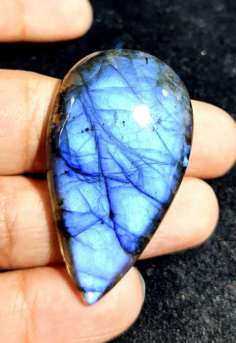 Natural Labradorite Cabochon Pear Shape Loose Gemstone Pendant Size Fire Labradorite Gemstone 51x30x7 MM 80.65 Carat