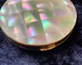 Vintage gold tone mother of pearl powder compact