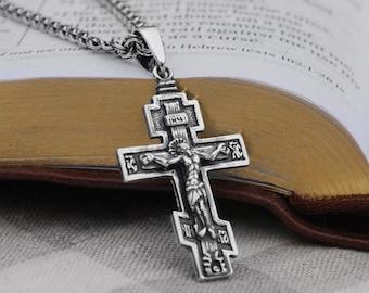 Catholic Cross Silver Crusifix Cross Pendant Orthodox Cross Greek Cross BS016 Sterling Silver Cross Cross Necklace Orthodox Crusifix