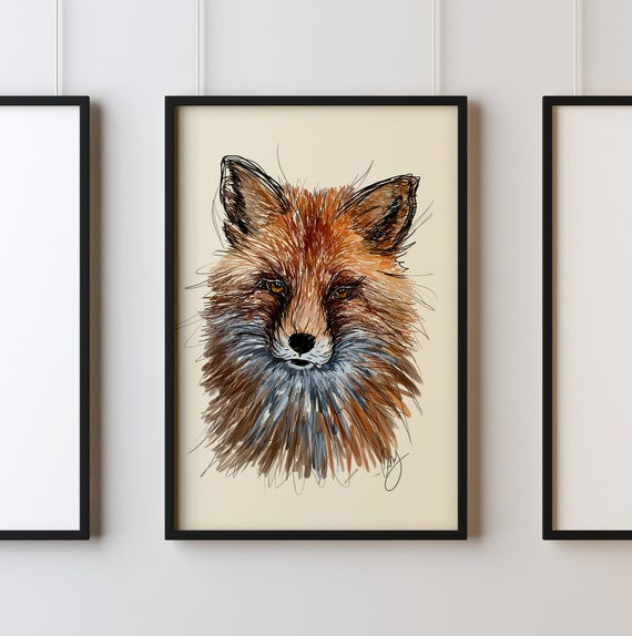 Colored Pencil Hand Drawn Decor INSTANT DOWNLOAD Fox Print Nature Woods Animal Fun Printable Wall Art Decoration Digital Download