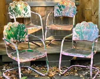 Superb Metal Lawn Chair Etsy Alphanode Cool Chair Designs And Ideas Alphanodeonline