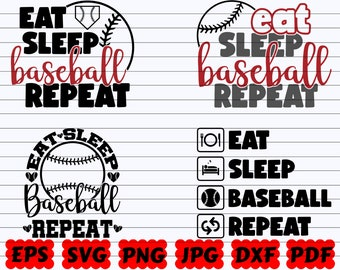 Eat Sleep Baseball Repeat Wood Sign #shopforacause-  Portion of Proceeds donated to Child Hunger Relief Organization! 7x10