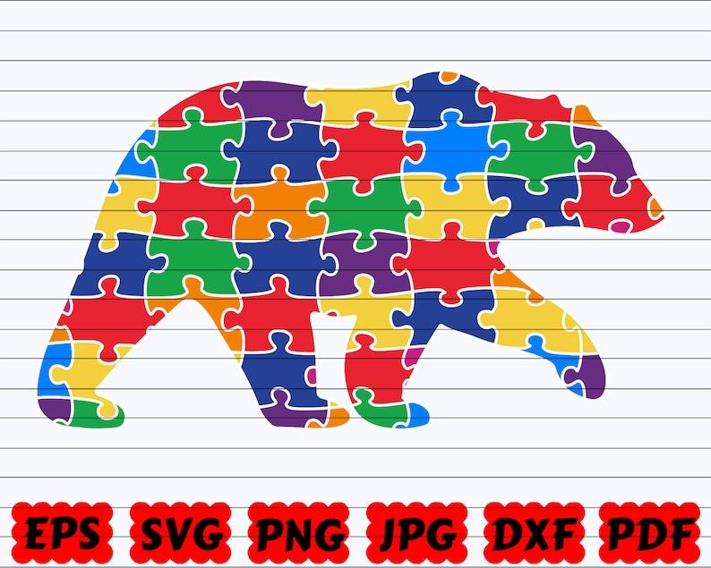 Autism Bear SVG Autism SVG Bear SVG Autism Clipart| Bear Cut File| Autism Puzzle Svg| Puzzle Svg Autism Cut File Autism Design Svg