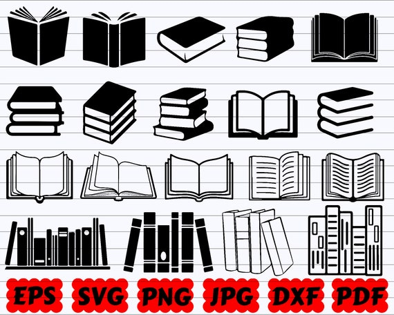book svg Personal and Small Business Use Clipart and SVG File school svg Library svg Reading svg Books SVG