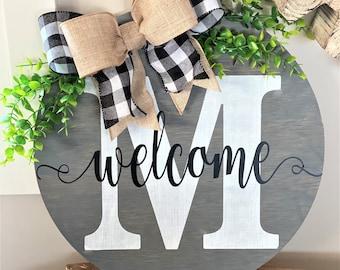 Custom Welcome Door Sign- Front Door Decor- Monogram Sign- Round Door Sign
