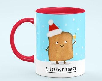 Festive Toast Ceramic Mug 11oz Cute Gift