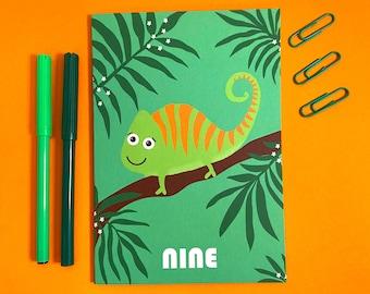 Nine Age Milestone Birthday Card - Kids - Cute - Animals - Chameleon