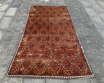 oushak runner rug  turkish rug  vintage rug  wool rug  area rug  bohemian rug  oriental rug  boho rug  1.9 x 9.1  ft MB 1931