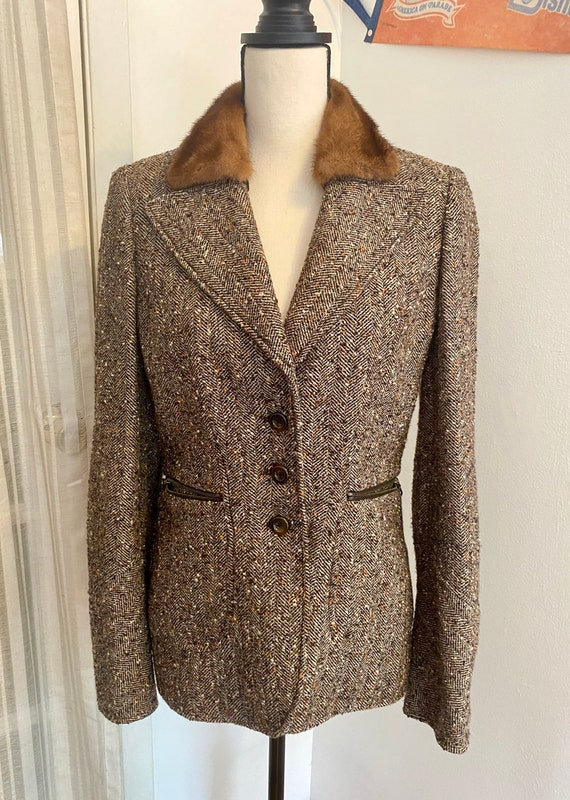 Vintage 90s Wool Blazer Jacket with Fur Collar (19