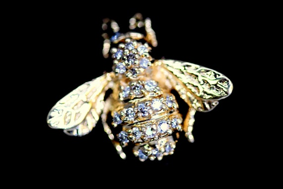 Gold Tone Bumble Bee Clear Stones Joan Rivers Insect Jewelry Rhinestone Crystal Bee Pin Figural Pin Vintage Bee Brooch Bug Jewelry