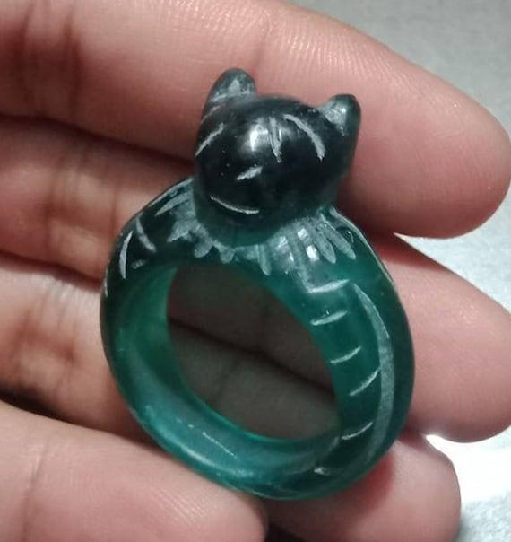 8 US Old Handmade Antique PYU Dark Green Glass Frog Fertility  Amulet Ring  Size