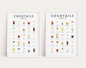 Classic Cocktails Recipe 2 Print Set Bar Poster Kitchen Drink Art Wall Decor Mixology Cocktail Drinks Guide